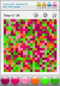 Flood-it, a color filling game. This version was made by Lab Pixies for the iPhone, but many others exist.